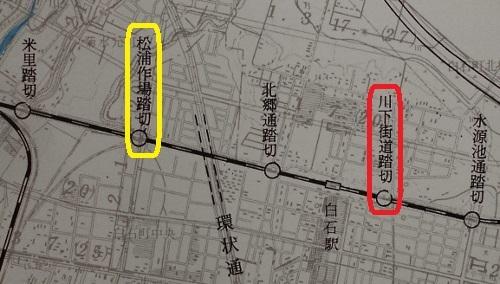 函館本線踏切立体交差化計画 添付図 踏切名 苗穂駅以東 拡大