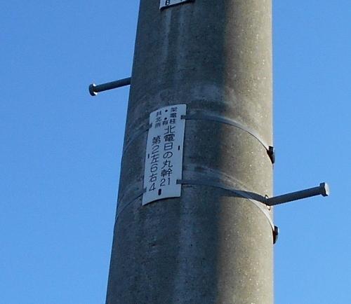 電柱銘「日の丸幹」 西区二十四軒 JR高架付近