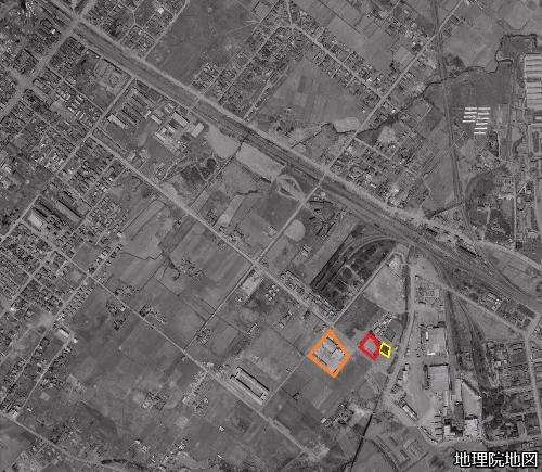 空中写真1961年 二十四軒 日の丸冷蔵付近