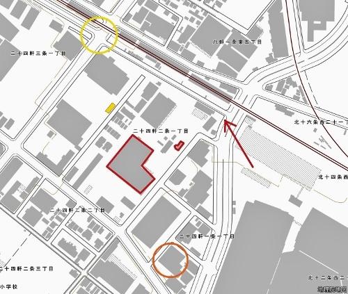 現在図 二十四軒2条1丁目 引込線跡地