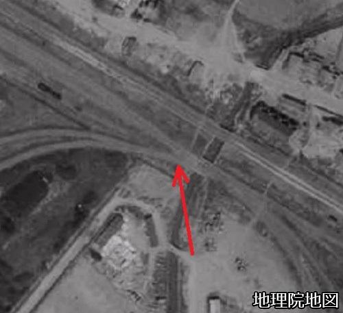 空中写真1961年 貯炭場引込線の付け根