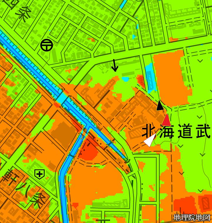 色別標高図×現在図 10m未満から1mごと4色 武蔵短大付近