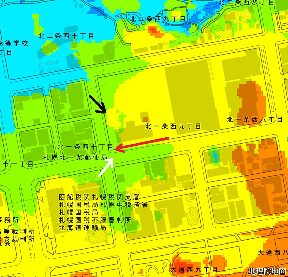 色別標高図 NHK札幌新会館周辺 撮影位置