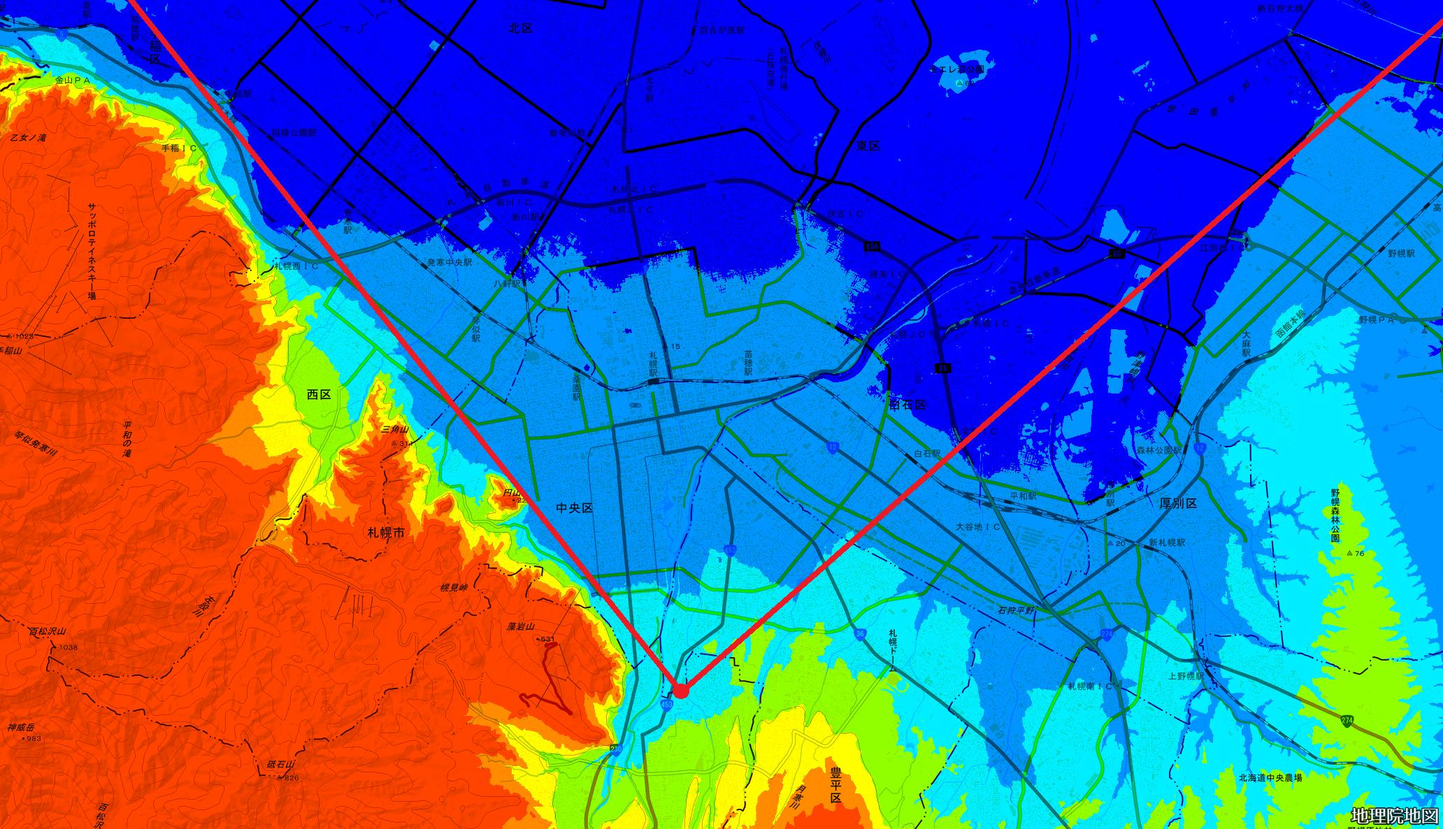 色別標高図 キャンプクロフォード 通信基地 広域