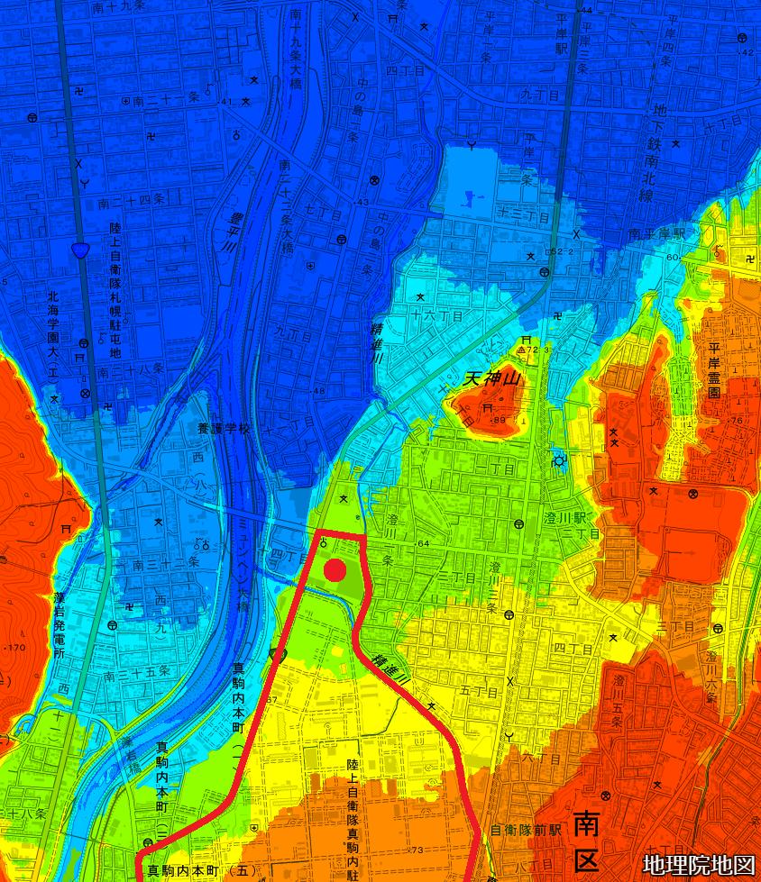 色別標高図 キャンプクロフォード 通信基地