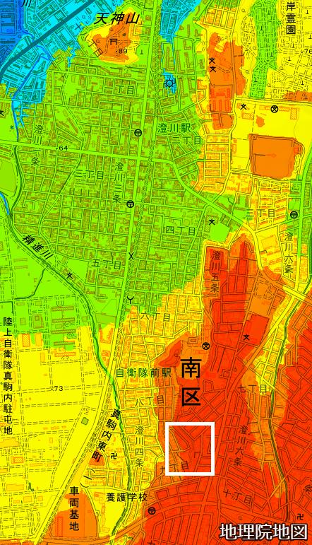 色別標高図 澄川5条9丁目あたり 広域