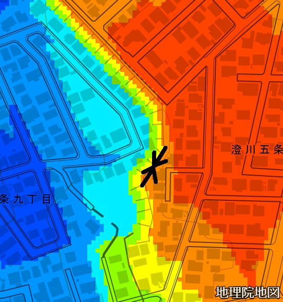 色別標高図 澄川5条9丁目 本願寺道路跡?撮影位置