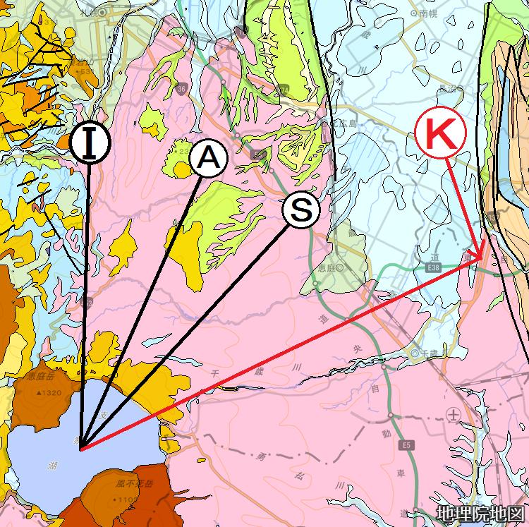 シームレス地質図 札幌軟石採掘地、千歳市キウス 支笏湖からの距離