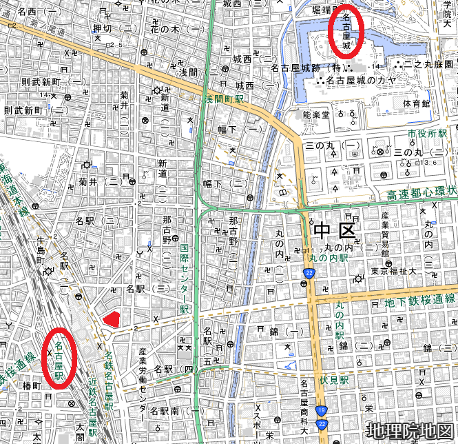 現在図 大名古屋ビルヂング 位置