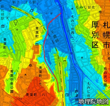 色別標高図 下野幌第1排水