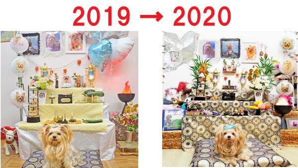 2019年の盆棚と2020年の盆棚