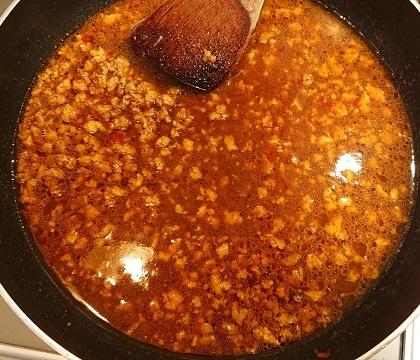 麻婆豆腐だれの豚ボール丼5
