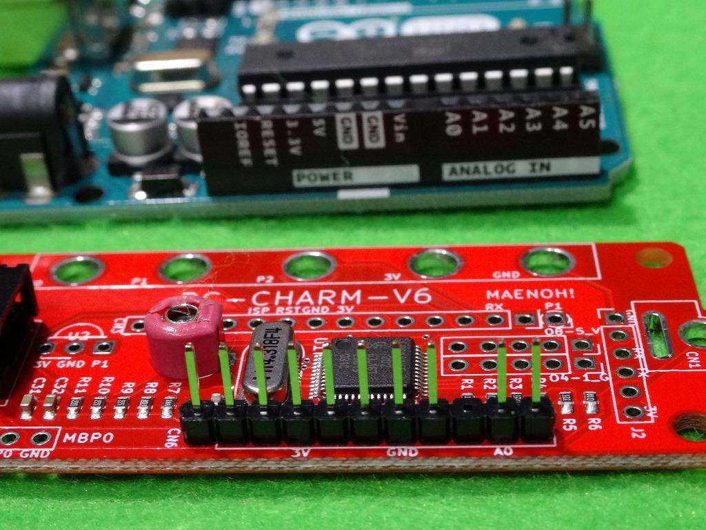 Arduino用ピンヘッダーの実装例