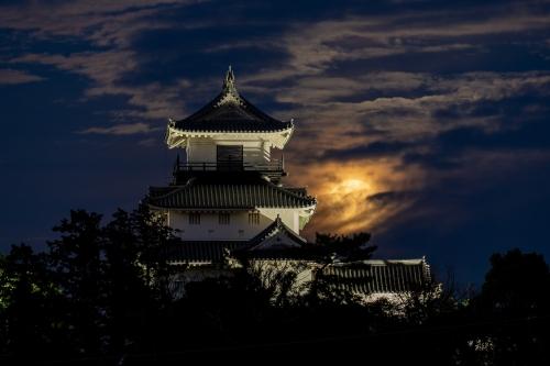 掛川城と満月