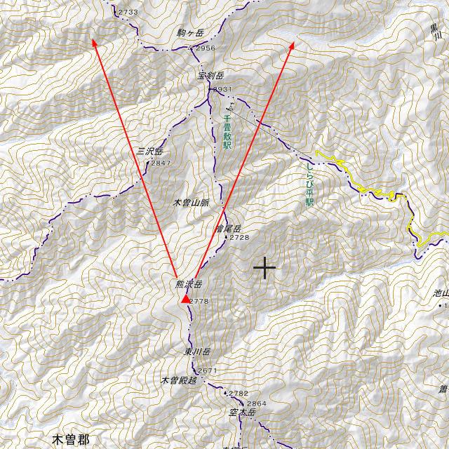 熊沢岳から木曽駒方面 地形図