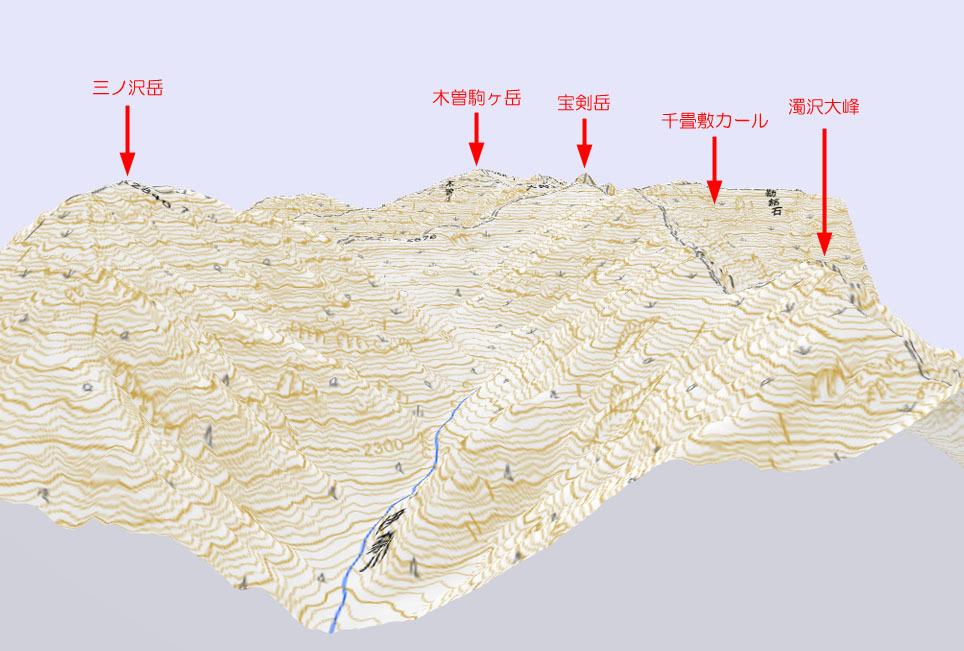 熊沢岳から木曽駒方面3D地図山座表記