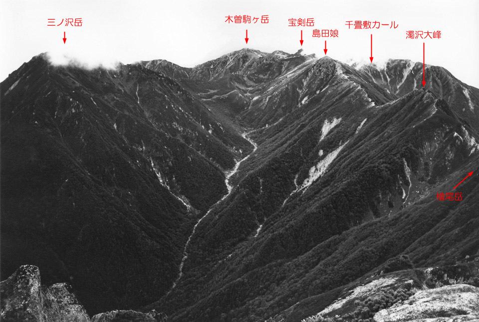 熊沢岳から木曽駒方面 山座同定
