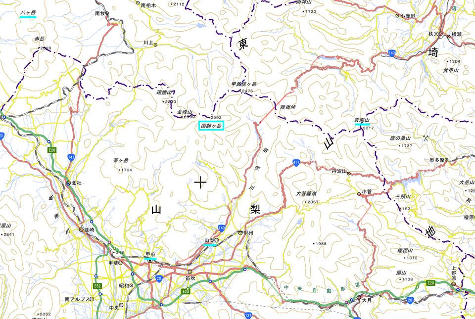 国師ヶ岳 広域地図