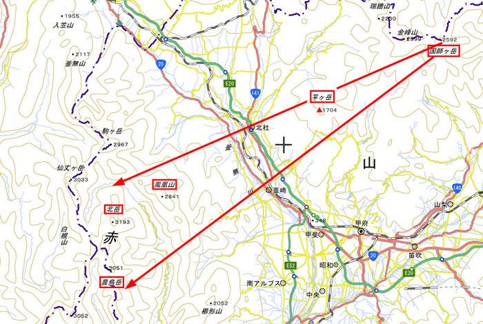 国師ヶ岳から白根三山 2D地図 700×470