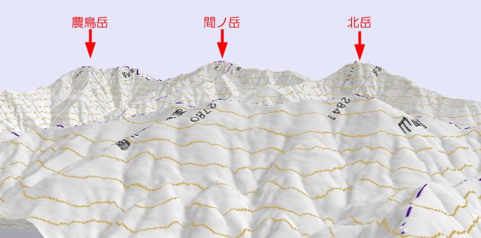 白根三山 3D地形図 700×347