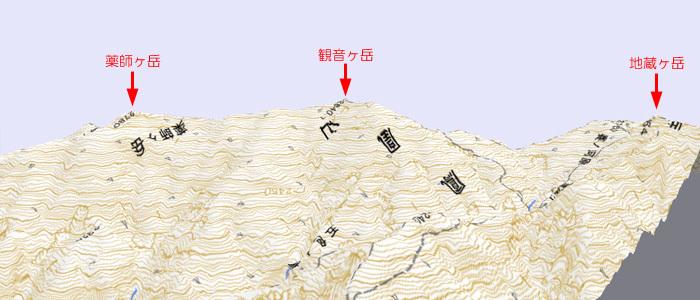 鳳凰三山 3D地形図 700×300
