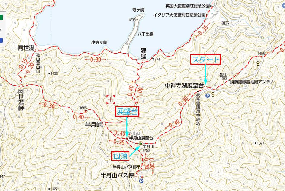 半月山登山地図 矢印入り 960×645