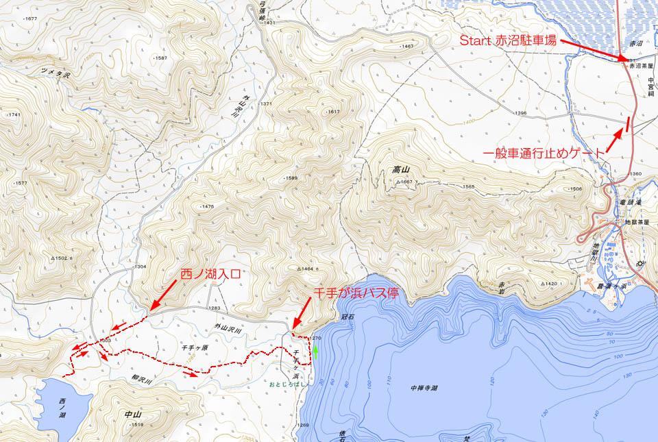 地図 西ノ湖トレッキング 960×645