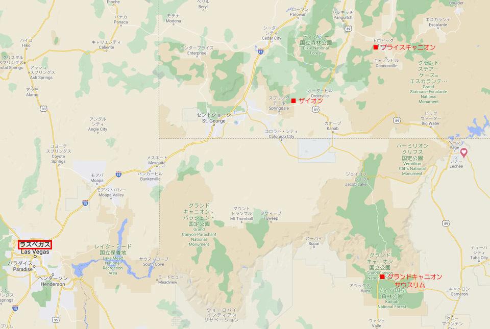 グランドサークルの旅地図 960×645