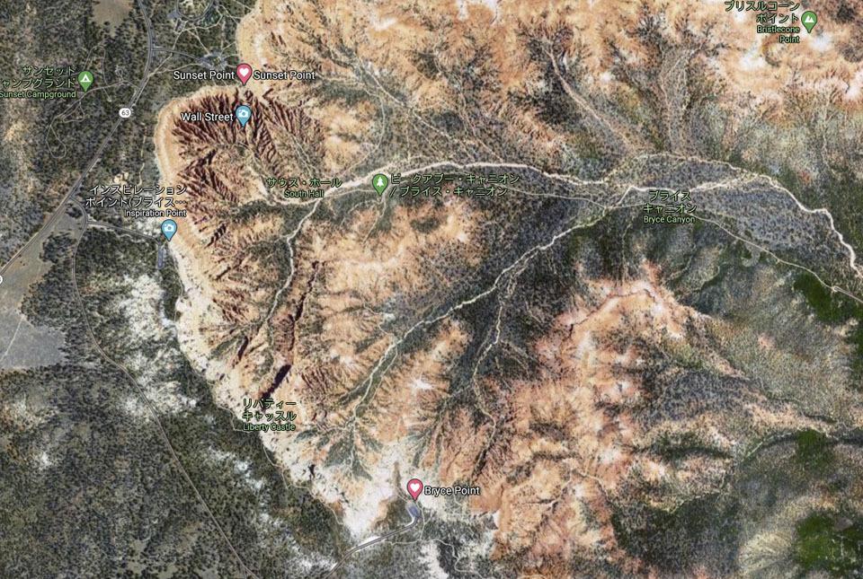 ブライスキャニオン航空地図