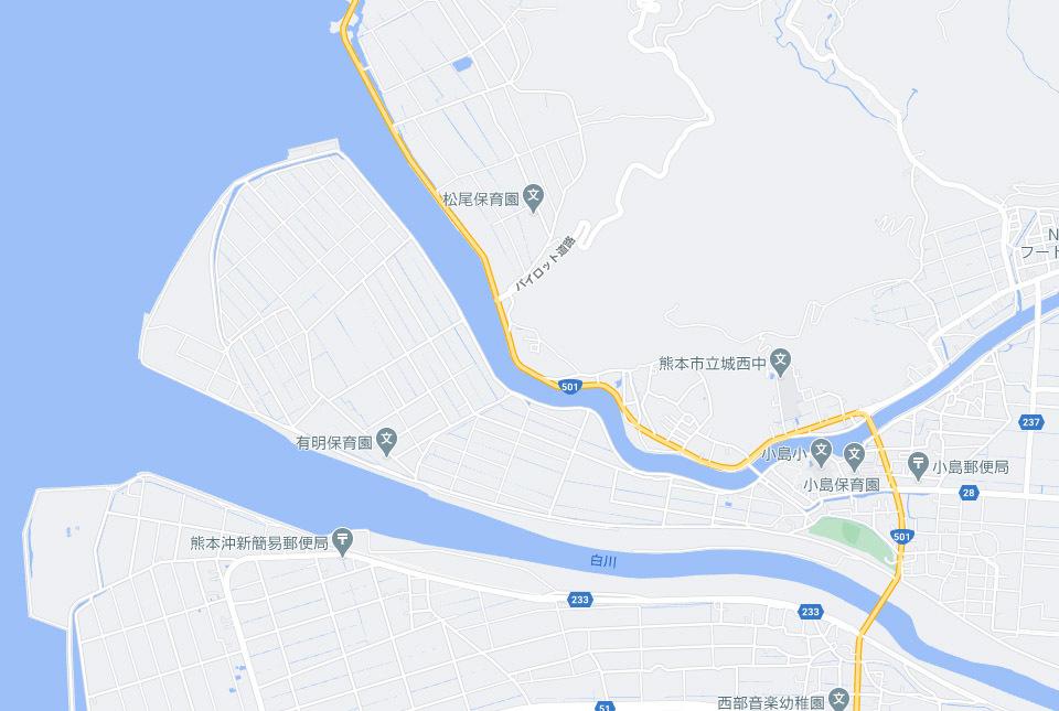 熊本市白川河口部地図