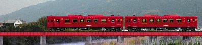 ことこと列車のイラスト 鉄橋゜