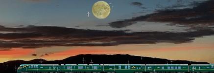 トワイライトエクスプレス瑞風と月と夕焼け