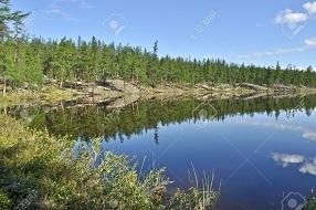 29032029-水を河川ハイアタ-オイミャコン-ロシア、ヤクーチアの高地の夏の風景。