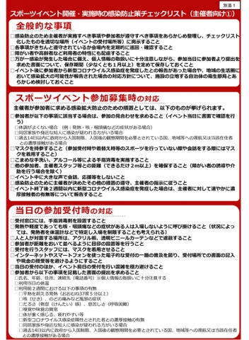 スポーツイベント開催・実施時の感染防止策チェックリスト