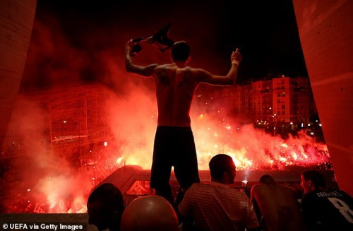 The result sparked huge celebrations with flares and fireworks outside the Parc des Princes