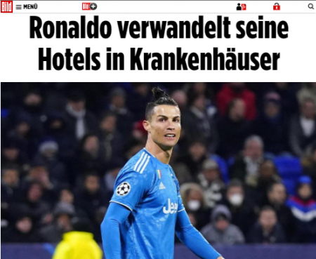 Ronaldo will transform his hotels in Portugal into hospitals to treat COVID-19 patients for free