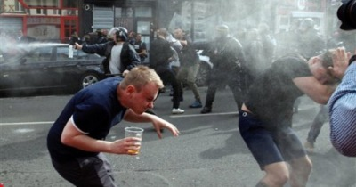police fire tear gas at English soccer fans