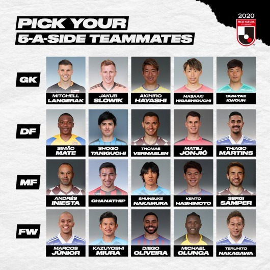 J league Select one player from each of the four rows to join your squad