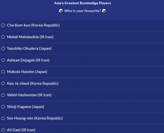 Who is Asias greatest Bundesliga player AFC poll