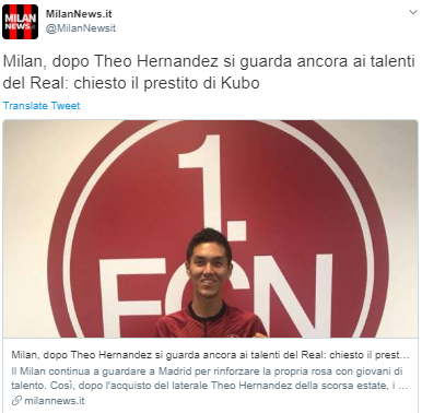 Milan, Reals talents asked for Kubos loan