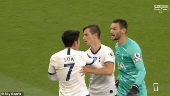Lloris raced over to confront his team-mate as the north London club were leaving the field