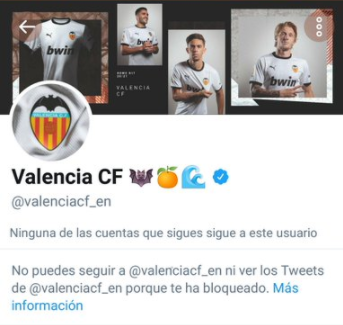 Valencia blocking all dissident fans at social networks