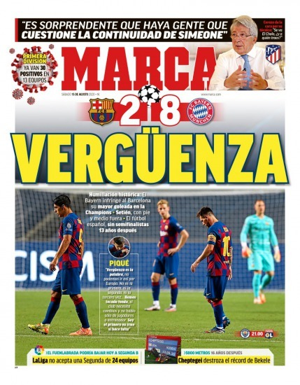 Marca's Cover Barcelona 2-8 Bayern Munich UEFA Champions League