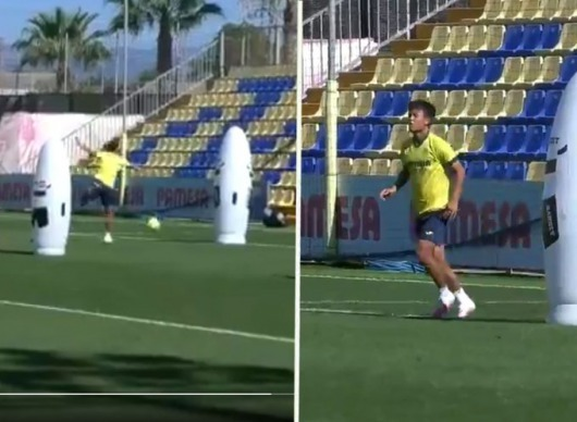 Kubo heel goal in training, and he hits it in the nets!