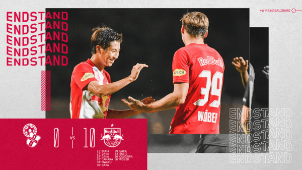 Red Bull Salzburg currently lead 10_0 away against SW Bregenz Okugawa goal