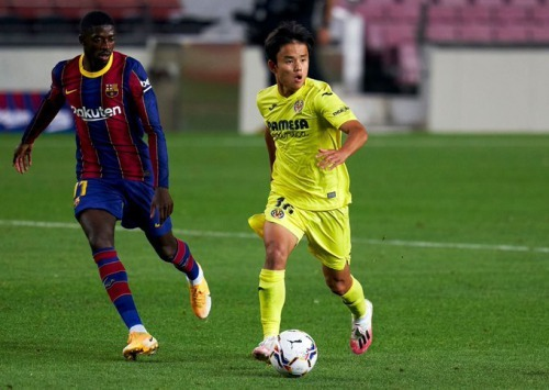 Takefusa kubo 4-0 defeat of Villarreal Barcelona at the Camp Nou