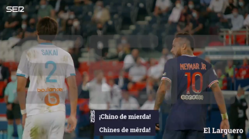 "This is the footage alleges shows Neymar calling Japanese international full-back Hiroki Sakai ""a Chinese shit"