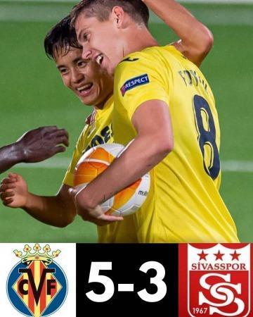 Kubo goal Villarreal 5-3 Sivasspor [UEFA Europa League, Round 1]