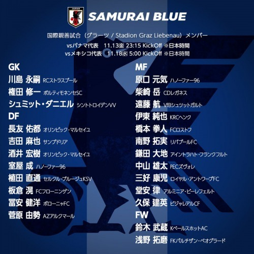 Japan NT squad against Panama Mexico