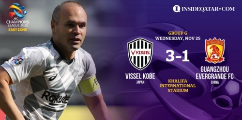 Andres Iniesta sparkles as Vissel Kobe sink Guangzhou Evergrande 3-1 in Group G of the AFC Champions League